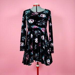 Black Floral Long Sleeve Skater Dress